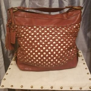 Isabella Fiore Woven Leather hobo bag